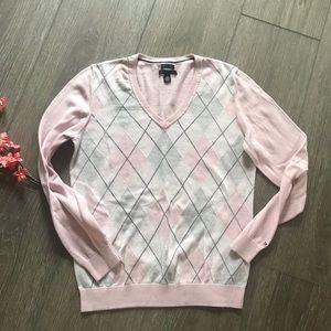 Tommy Hilfiger sweater pink women's argyle large